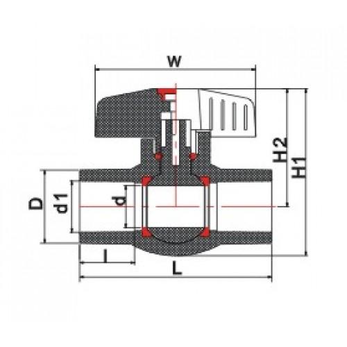 Кран шаровый ХПВХ неразборный d20мм PN20