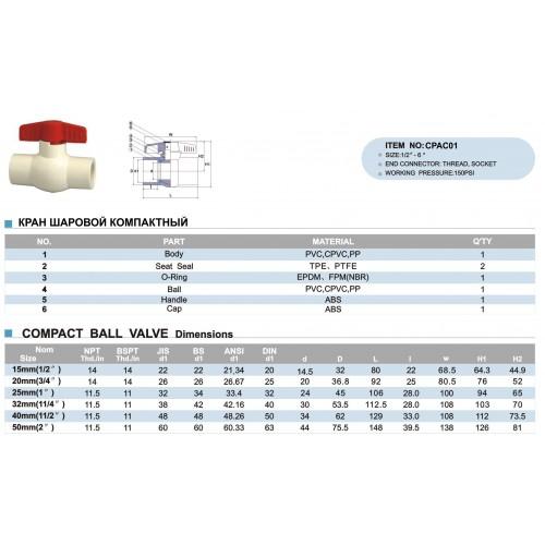 Кран шаровый ХПВХ неразборный d25мм PN20