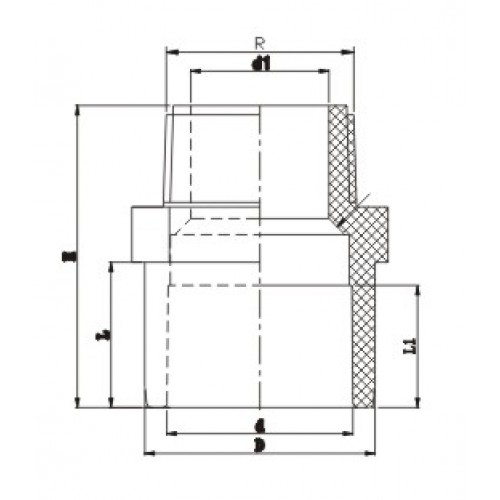 Двойной муфтовый адаптор с НР d25х20х1/2