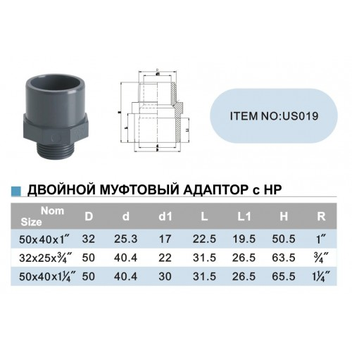 Двойной муфтовый адаптор с НР d63х50х2