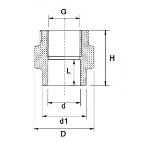 Муфта переходная с ВР с усиливающим кольцом, d63x2