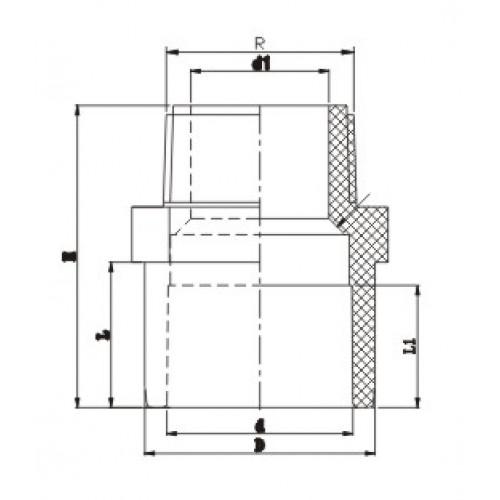 Двойной муфтовый адаптор с НР d63х50х1 1/2